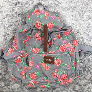 VS Pink Grey & Pink Floral Backpack